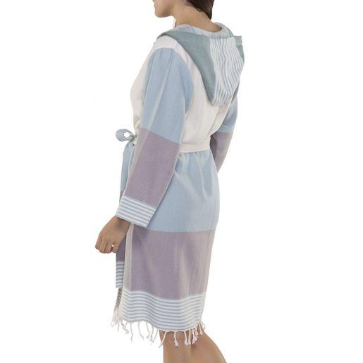 Bathrobe Twin Sultan with hood - Light Blue - Light Grey