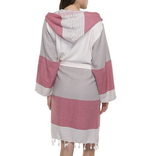 Bathrobe Twin Sultan with hood - Taupe / Dusty Rose