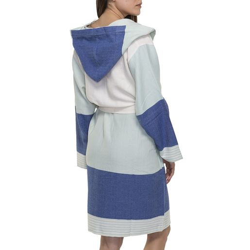 Bathrobe Twin Sultan with hood - Mint / Royal Blue