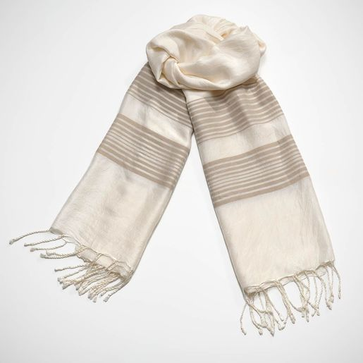 Silk CZ Scarf - Taupe Stripes