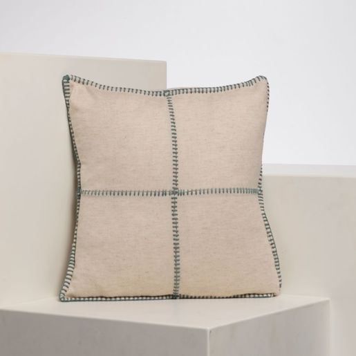 PATCHWORK CUSHION - ALMOND GREEN  40 x 40 CM