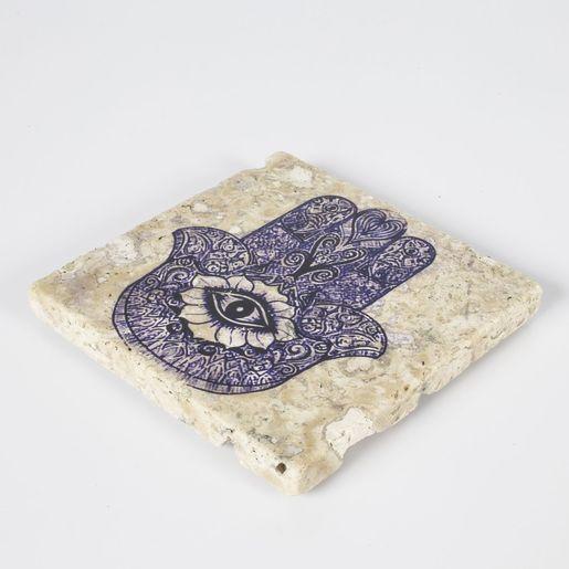 Coaster Travertine - Hand Of Fatima / Blue