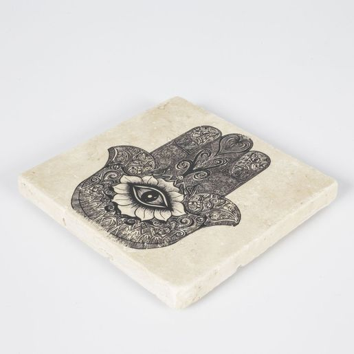 Coaster Travertine - Hand Of Fatima / Black