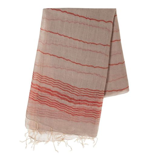 Peshtemal / Pareo  TOPRAK - Beige / Red Stripes