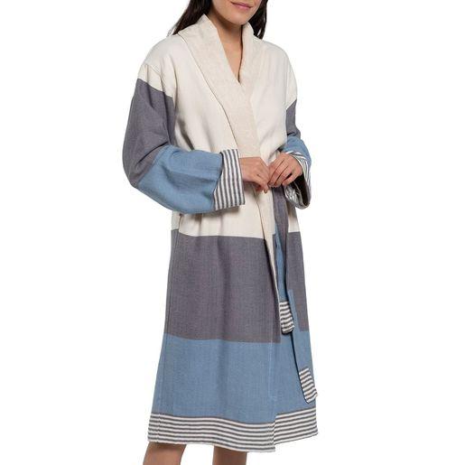 Bathrobe Twin Sultan with towel / Dark Grey - Air Blue