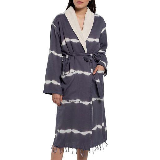 Bathrobe Tie Dye with towel - Dark Grey
