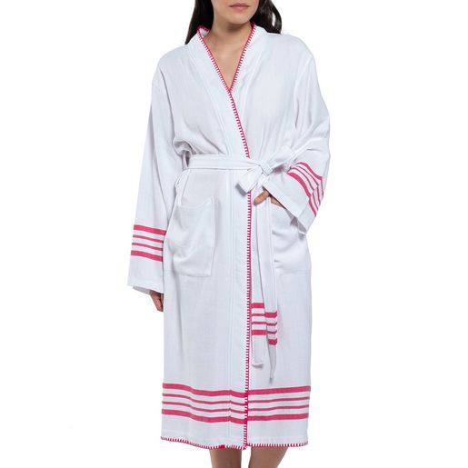 Bathrobe White Sultan - Fuchsia  Stripes