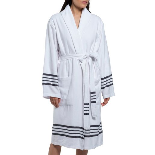 Bathrobe White Sultan with terry / Black Stripes
