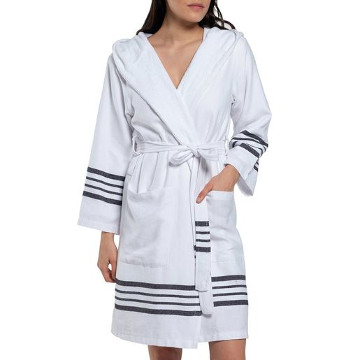 Bathrobe White Sultan with hood & terry - Black Stripes