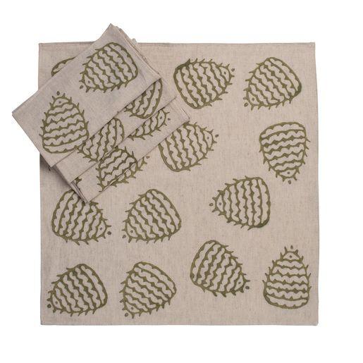 Service Mat/ Napkin - Hand Printed 05 / Greyish