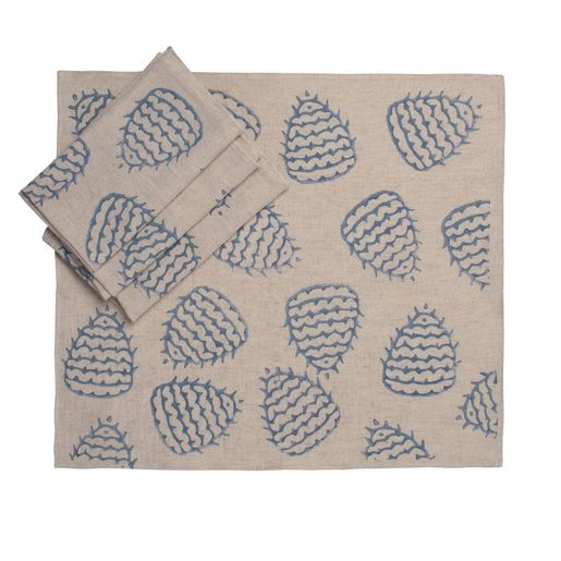 Service Mat / Napkin Hand Printed 05 - Blue Print