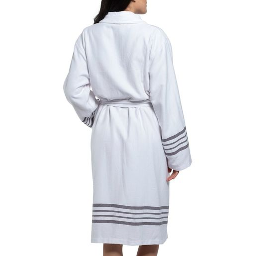 Bathrobe White Sultan with Terry - Dark Grey Stripes