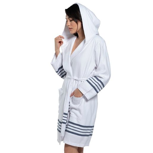 Bathrobe White Sultan with hood & terry - Navy Stripes