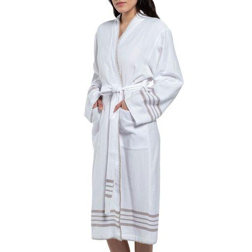 Bathrobe White Sultan - Taupe Stripes