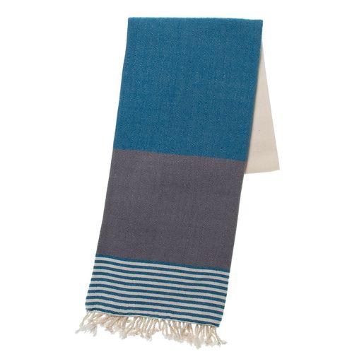 TOWEL KSC3 - DOUBLE FACE - PETROL BLUE / DARK GREY