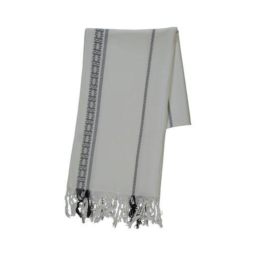 Peshtemal Selchuk - White /Black - Jaquard
